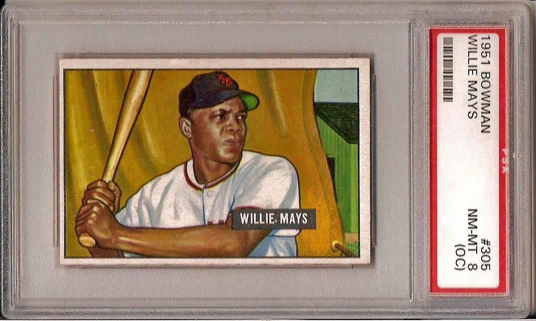 1951 Bowman Willie Mays PSA 8 OC