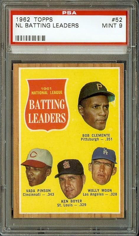 1962 Topps #52 Batting Leaders Clemente Boyer Pinson PSA 9