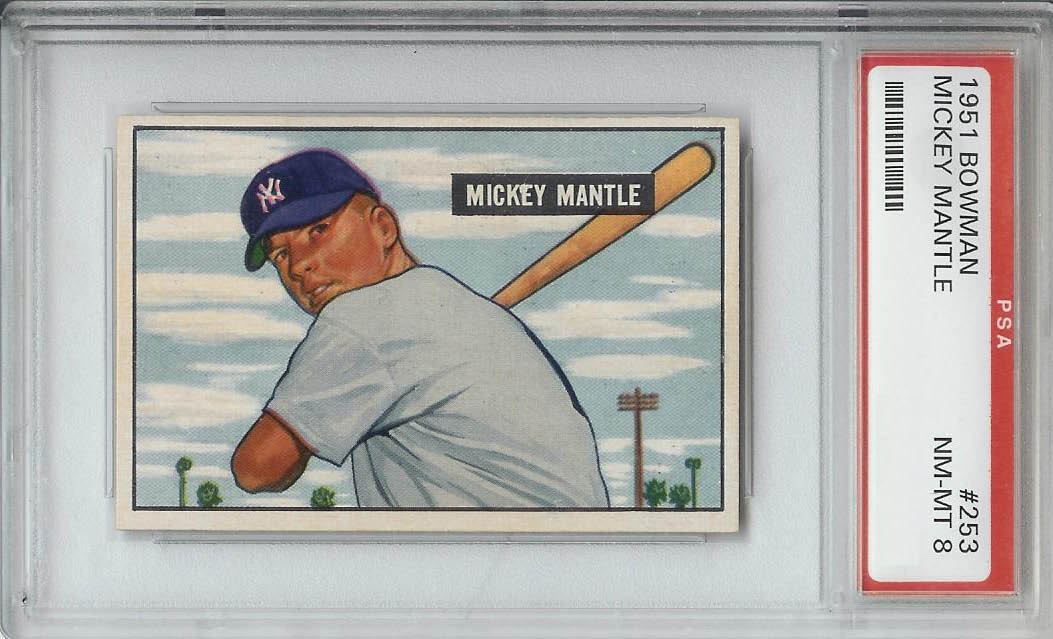 1951 Bowman Mickey Mantle PSA 8
